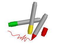 Three non-ferrous marker. Three colored markers on white background Stock Image