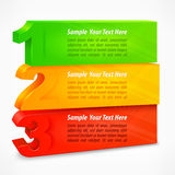 Three colored number banners Royalty Free Stock Photos