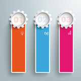 Three Colored Oblong Banners Gears PiAd Royalty Free Stock Photos