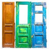 Three colored old wooden doors Royalty Free Stock Image