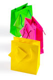Three colored  paper bags Stock Photos
