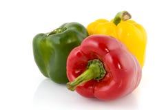 Three colored paprika Royalty Free Stock Photos
