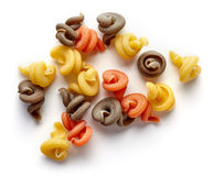Three-colored pasta  on white, from above Royalty Free Stock Image