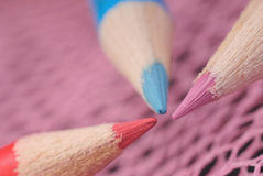 Three colored pencil close-up Stock Photo