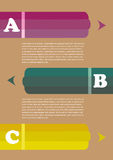 Three Colored Pencil Page Layout Design Royalty Free Stock Photo