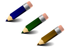Three colored pencils. The picture of three simply colored pencils Stock Image