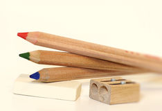 Three colored pencils Royalty Free Stock Photography