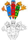 Three colored pencils smiling as coloring books for kids Stock Photography