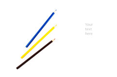 Three colored pencils on a white background Stock Photography