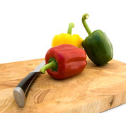 Three colored peppers Stock Image