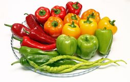 Three colored peppers Stock Photography