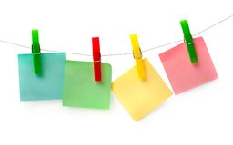 Three colored piece of paper for notes Stock Images