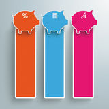 Three Colored Piggy Banks Oblong Banners PiAd Royalty Free Stock Photography