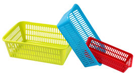 Three colored plastic containers for household storage Stock Image