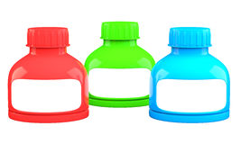 Three colored plastic containers Royalty Free Stock Photo