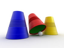 Three colored plastic cups Stock Photography