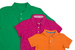 Three colored polo shirt close-up Royalty Free Stock Photo