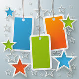 Three Colored Price Sticker With Stars. Stars with shopping mark on the grey background. Eps 10  file Royalty Free Stock Photos
