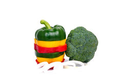 Three colored red Yellow green  Mix bell pepper vegetarian ripe pepper paprika spices isolate Stock Photography