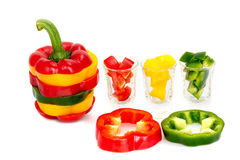 Three colored red Yellow green  Mix bell pepper vegetarian ripe pepper paprika spices isolate Stock Images