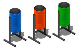 Three colored round litter bins, blue, orange and green. Isometric illustration on white background. With shadow Royalty Free Illustration