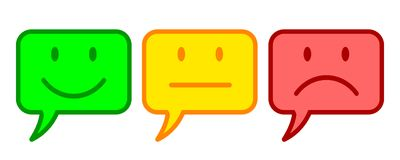 Three colored smilies, set smiley emotion, by smilies, cartoon emoticons icon Royalty Free Stock Photography