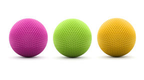 Three colored spheres rendered and isolated. On white background Royalty Free Stock Images