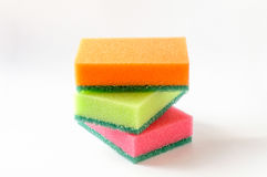 Three Colored Sponges Stock Photo