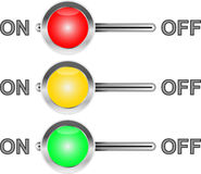 Three colored switches Royalty Free Stock Image