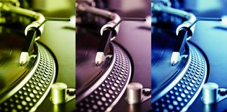 Three colored turntable record players Stock Photos