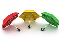 Three colored umbrellas Royalty Free Stock Image