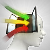 Three colored way arrows coming  in human head through window as knowledge concept Stock Images