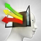 Three colored way arrows coming  out of human head through window as knowledge concept Stock Images