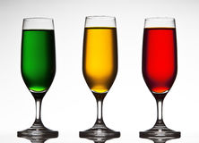 Three colored wine glasses. Stock Photo