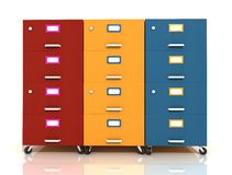 Three colored wooden  file drawer Royalty Free Stock Image