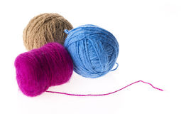 Three colored wool clews Royalty Free Stock Photo