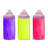 Three colorful aerosol cans. Spray paint cans. Graffiti paint bo Stock Photography