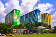 Three colorful apartment buildings in Rochor Center in Singapore stock photos