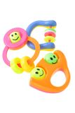 Three colorful baby rattles stock photos