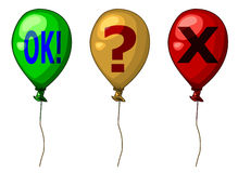 Three colorful balloons. Three colorful concept balloons; a green OK, a yellow question point and a red X vector illustration