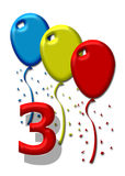 Three colorful balloons. Balloons in primary colors dancing in the air Stock Photo