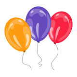 Three colorful balloons Royalty Free Stock Photography