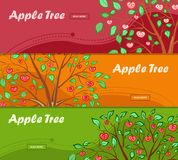 Three colorful banners with apple tree and place for your advertisement. Illustration Stock Photo