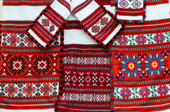 Three colorful belorussian towel and napkins with geometric patt Royalty Free Stock Photos