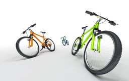 Three colorful bikes going in different directions isolated on w. Three colorful bikes going in different directions. Sport concept Stock Image