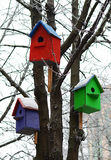 Three colorful birdhouses Royalty Free Stock Image