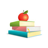 Three colorful books and red apple.Vektor. Three colorful books are located one above the other. Apple lays on a pile of books. Vector illustration. Comic style Stock Photography