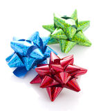 Three colorful bows isolated Royalty Free Stock Photography