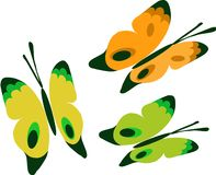 Three colorful Butterflies  icon set Royalty Free Stock Photography
