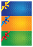 Three colorful cards. Three colorful invitation card with different colored ribbon. Vector illustration Stock Images